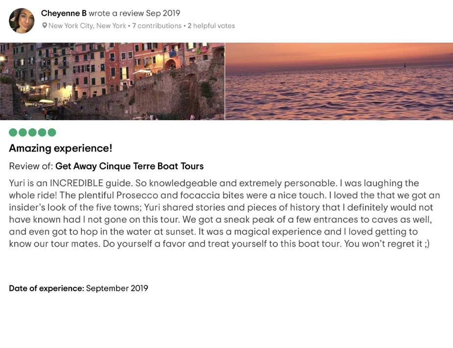 Cinque Terre Portovenere boat Tour